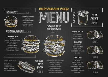 Illustration pour Restaurant Food Menu Design template with Chalkboard Background. Vintage chalk drawing fast food menu in vector sketch style. - image libre de droit