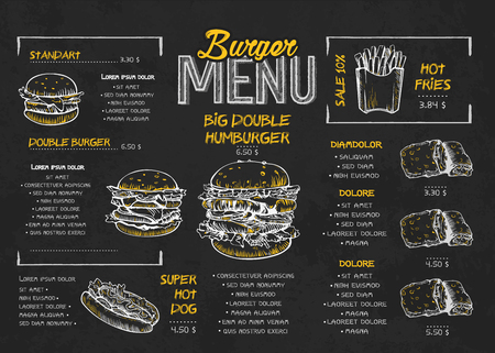 Illustration pour Burger menu poster design on the chalkboard elements. Fast food menu skech style. Can be used for layout, banner, web design, brochure template. Vector illustration. - image libre de droit