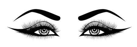 Illustration pour Vector eye lashes. Hand-drawn woman s sexy luxurious eye with perfectly shaped eyebrows and full lashes. Idea for business visit card, typography vector. Perfect salon look. - image libre de droit