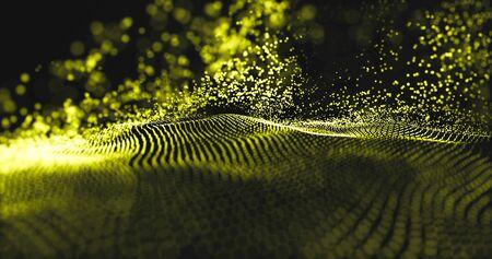 Photo pour Data technology with gold particles and luxurious sparkling wave. - image libre de droit