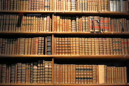 Old books standing on library shelf