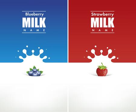 Illustration pour milk splash with blueberry and strawberry - image libre de droit