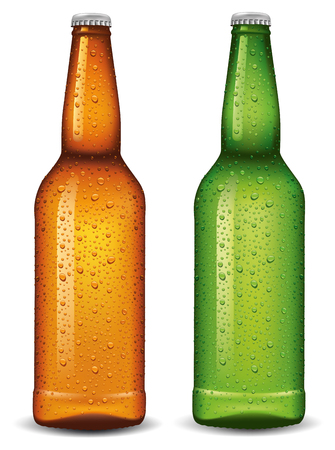 beer bottle with many water drops