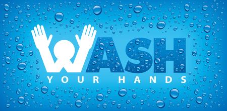 Ilustración de wash your hands-blue background with many water drops - Imagen libre de derechos