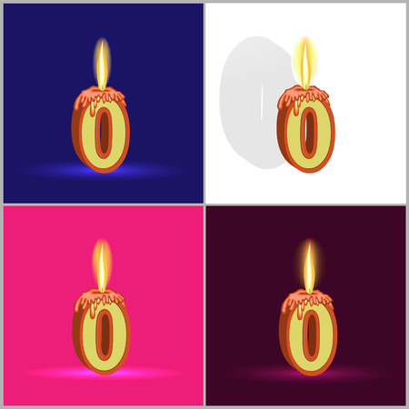 a burning candle in the form of numbers on a significant event depicted on four different backgrounds