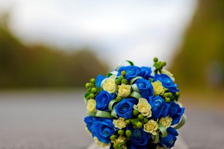 Foto de Blue wedding bouquet,Blue rose - Imagen libre de derechos