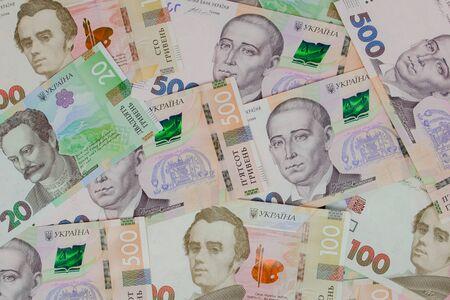Photo pour new Banknotes Ukrainian Hryvnia. Ukrainian Banknotes - image libre de droit
