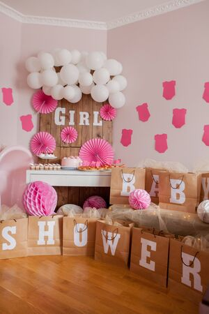 Foto de It's a girl. Baby shower. Decoration for party - Imagen libre de derechos