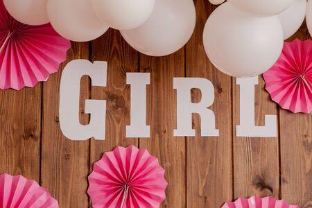 Photo pour It's a girl. Baby shower. Decoration for party - image libre de droit