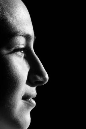 Photo pour Black and white portrait of beautiful brunette woman with bob hairstyle. - image libre de droit