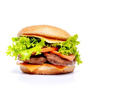 Photo for Cheeseburger or hamberger on a white background. Fast food. - Royalty Free Image
