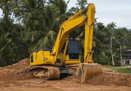 Photo for Yellow excavator on a construction site against blue sky. Heavy industry. Close up details of industrial excavator. Large tracked excavator standing on a orange ground with a palms on background - Royalty Free Image