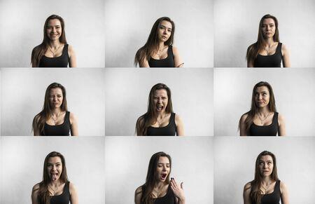 Photo pour Set of young womans portraits with different emotions. Young beautiful cute girl showing different emotions. Laughing, smiling, anger, suspicion, fear, surprise. - image libre de droit