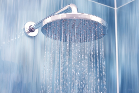 Head shower while running water