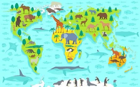 Funny cartoon world map