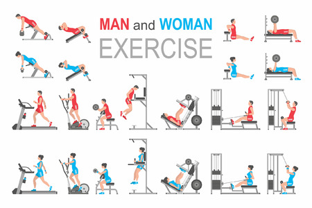 Ilustración de Man and Woman exercise - Imagen libre de derechos