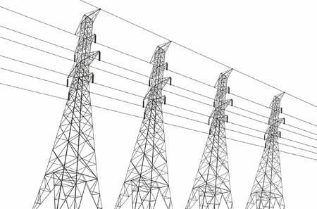 Electric power lines on white background