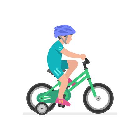 Illustration pour Boy riding bike isolated on white background - image libre de droit