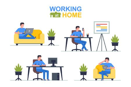 Illustration pour Working at home. Man freelancer working on laptop and computer, phone, tablet. Flat Style - image libre de droit
