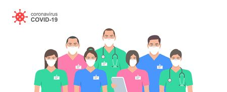 Illustration pour Doctors in white medical face mask. Set Doctors and nurse in protection masks. Health Care and Safety. Coronavirus COVID-19 virus. Flat Style - image libre de droit