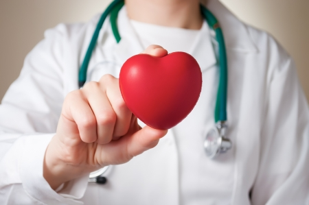 Red heart in the hand of a physician
