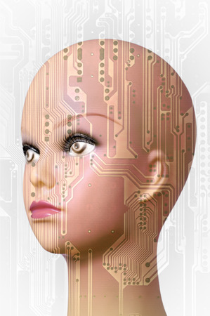 Double exposure artificial Intelligence concept, mannequin head and circuit board