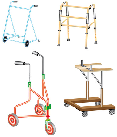 Walking frame  Metal walker used to assist when walking for support and security