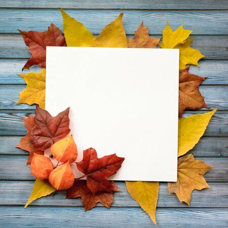 Photo pour Autumn composition of maple leaves and square white paper. Flat lay, top view - image libre de droit