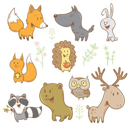 Ilustración de Cute cartoon forest animals set. Funny fox, wolf, squirrel, hare, raccoon, owl and deer. Different plants. image. Children's illustration. - Imagen libre de derechos