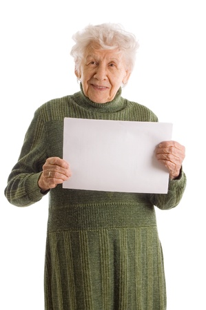 Photo for Portrait of a happy senior woman holding blank billboard against white background - Royalty Free Image