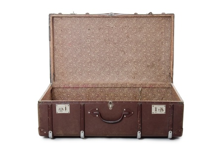 Photo pour Open old suitcase isolated on white background - image libre de droit