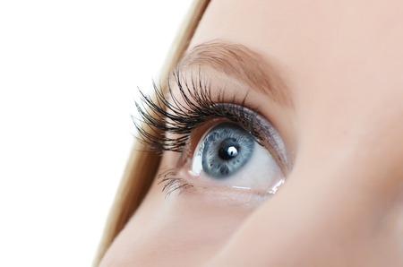 Photo pour Female eye with long eyelashes close up - image libre de droit
