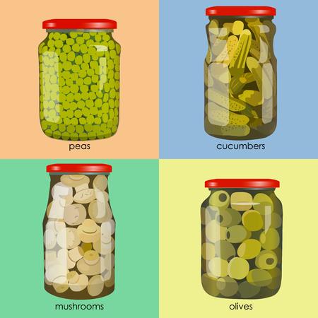Illustration pour pickles set in jars. Pickled realistic vegetables. Peas, mushrooms, olives, cucumbers. Colorful Vector illustration. - image libre de droit
