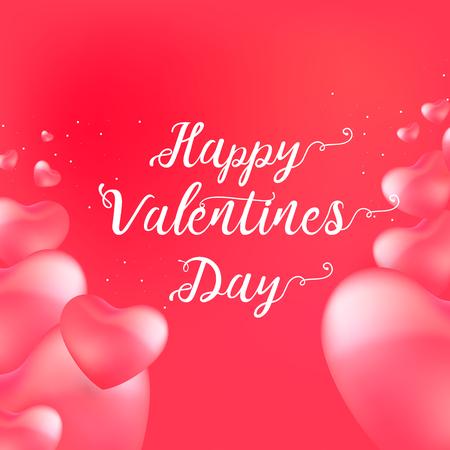 Ilustración de Happy Valentine's Day card with calligraphy text and red baloon hearts. Vector illustration - Imagen libre de derechos