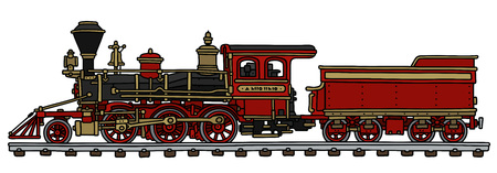 Hand drawing of a classic red american steam locomotive with a scuttle