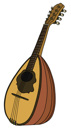 Hand drawing of a vintage portugal mandolin