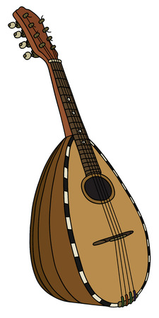 Hand drawing of a vintage italy mandolin