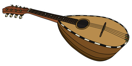 Hand drawing of an old italy mandolin