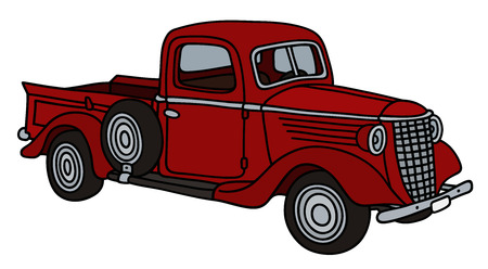 Illustration pour Classic red pick-up - image libre de droit