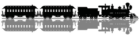 Illustration pour Black silhouette of a retro american steam train - image libre de droit