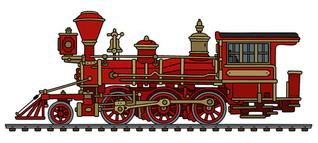 Illustration pour Old red wild west steam locomotive - image libre de droit