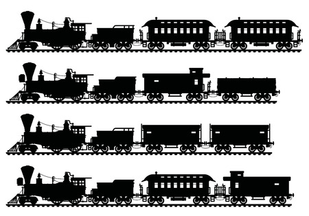 Illustration pour Black silhouettes of vintage american steam trains - image libre de droit
