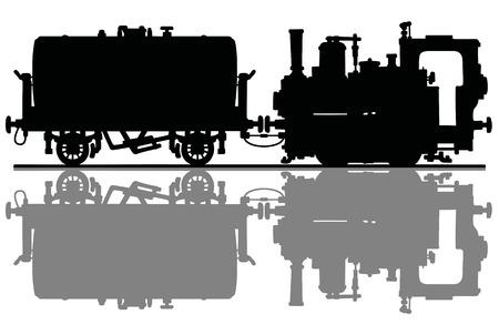 Illustration pour The black silhouette of a vintage small steam locomotive and the tank wagon - image libre de droit