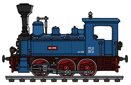 Illustration pour The vectorized hand drawing of a classic blue small steam locomotive - image libre de droit