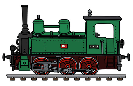 Illustration pour The vectorized hand drawing of a classic green small steam locomotive - image libre de droit