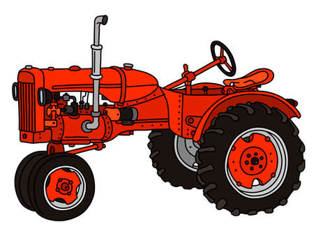 Illustration pour The vectorized hand drawing of a vintage red tractor - image libre de droit