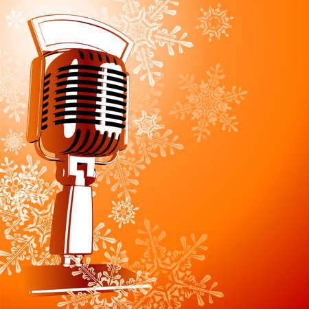 Illustrazione per Vintage microphone & snowflakes - Immagini Royalty Free