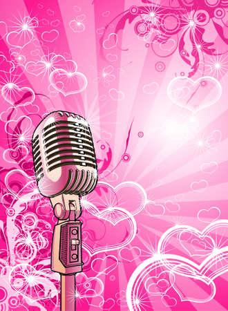 Illustrazione per Pink valentines microphone - Immagini Royalty Free