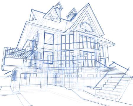 Photo pour 3d blueprint house: vector technical draw - image libre de droit