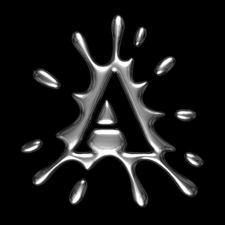 Liquid metal letter A - alphabet symbol isolated on a black background (with path)